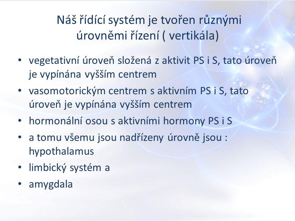 Náš řídící systém je tvořen různými úrovněmi řízení ( vertikála) vegetativní úroveň složená z aktivit PS i S, tato úroveň je vypínána vyšším centrem vasomotorickým centrem s aktivním PS i S, tato úroveň je vypínána vyšším centrem hormonální osou s aktivními hormony PS i S a tomu všemu jsou nadřízeny úrovně jsou : hypothalamus limbický systém a amygdala