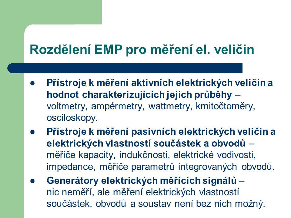 Rozdělení EMP pro měření el. veličin Přístroje k měření aktivních elektrických veličin a hodnot charakterizujících jejich průběhy – voltmetry, ampérme