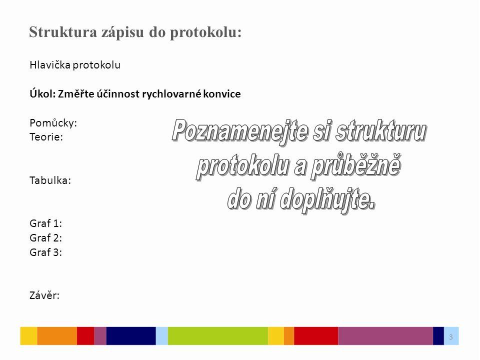 Struktura zápisu do protokolu: Hlavička protokolu Úkol: Změřte účinnost rychlovarné konvice Pomůcky: Teorie: Tabulka: Graf 1: Graf 2: Graf 3: Závěr: 3