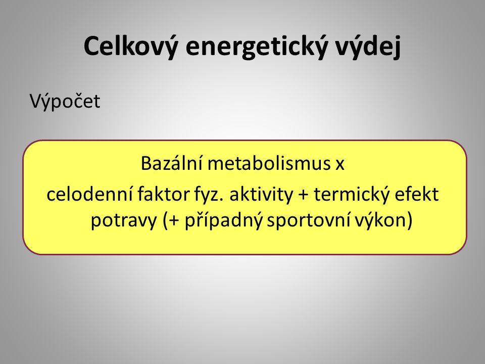 Celkový energetický výdej Výpočet Bazální metabolismus x celodenní faktor fyz. aktivity + termický efekt potravy (+ případný sportovní výkon)