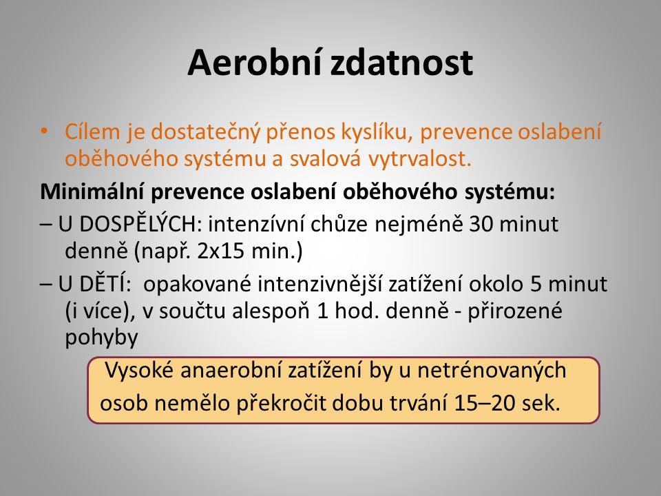Aerobní zdatnost Cílem je dostatečný přenos kyslíku, prevence oslabení oběhového systému a svalová vytrvalost. Minimální prevence oslabení oběhového s