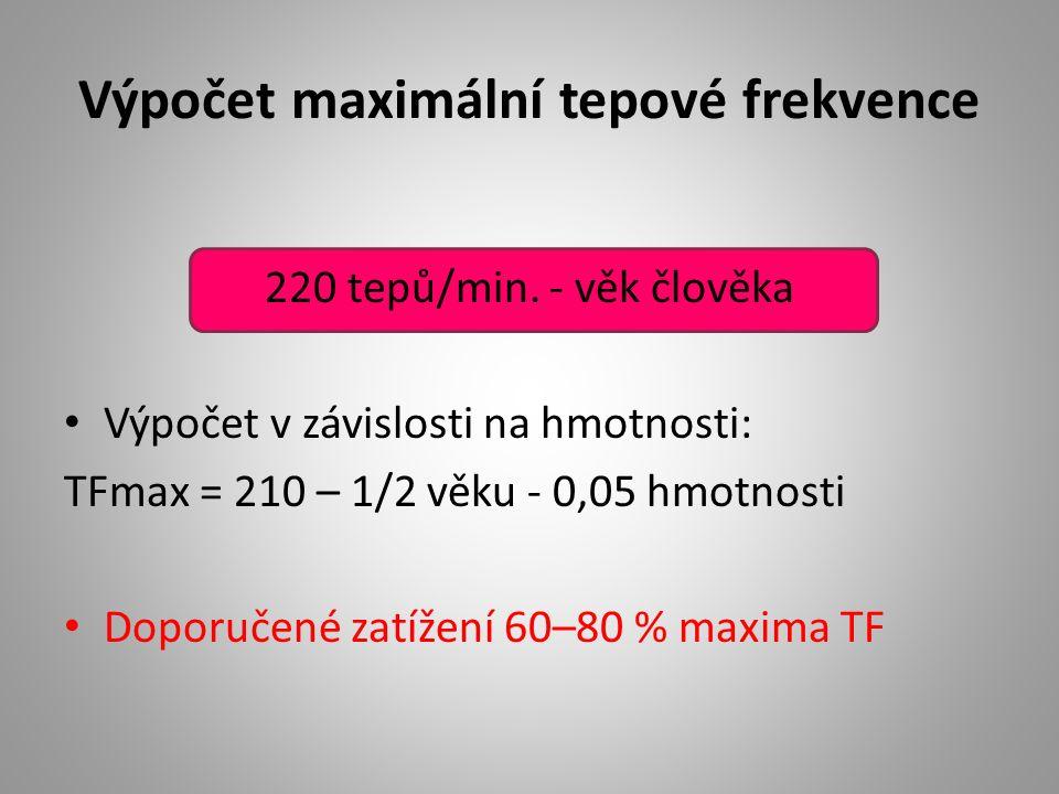 Výpočet maximální tepové frekvence 220 tepů/min. - věk člověka Výpočet v závislosti na hmotnosti: TFmax = 210 – 1/2 věku - 0,05 hmotnosti Doporučené z
