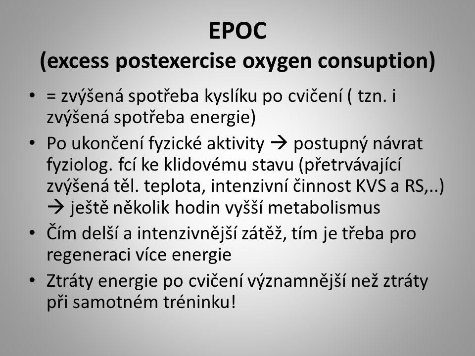 EPOC (excess postexercise oxygen consuption) = zvýšená spotřeba kyslíku po cvičení ( tzn. i zvýšená spotřeba energie) Po ukončení fyzické aktivity  p