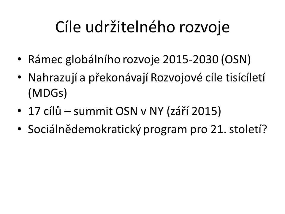 Cíle udržitelného rozvoje Rámec globálního rozvoje 2015-2030 (OSN) Nahrazují a překonávají Rozvojové cíle tisícíletí (MDGs) 17 cílů – summit OSN v NY (září 2015) Sociálnědemokratický program pro 21.