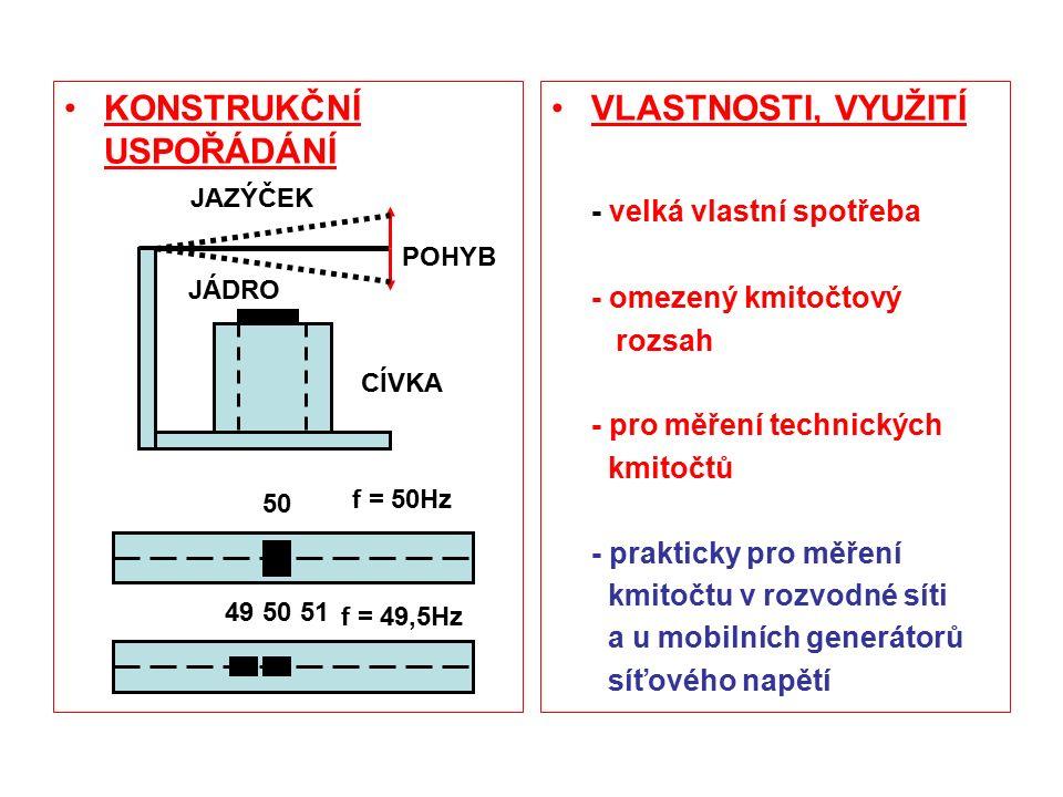 KONSTRUKČNÍ USPOŘÁDÁNÍ VLASTNOSTI, VYUŽITÍ - velká vlastní spotřeba - omezený kmitočtový rozsah - pro měření technických kmitočtů - prakticky pro měření kmitočtu v rozvodné síti a u mobilních generátorů síťového napětí JÁDRO CÍVKA JAZÝČEK 50 49 POHYB 51 f = 50Hz f = 49,5Hz