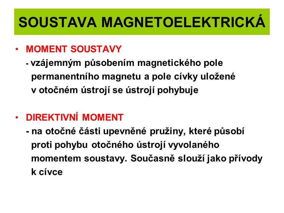 SOUSTAVA MAGNETOELEKTRICKÁ MOMENT SOUSTAVY - vzájemným působením magnetického pole permanentního magnetu a pole cívky uložené v otočném ústrojí se ústrojí pohybuje DIREKTIVNÍ MOMENT - na otočné části upevněné pružiny, které působí proti pohybu otočného ústrojí vyvolaného momentem soustavy.