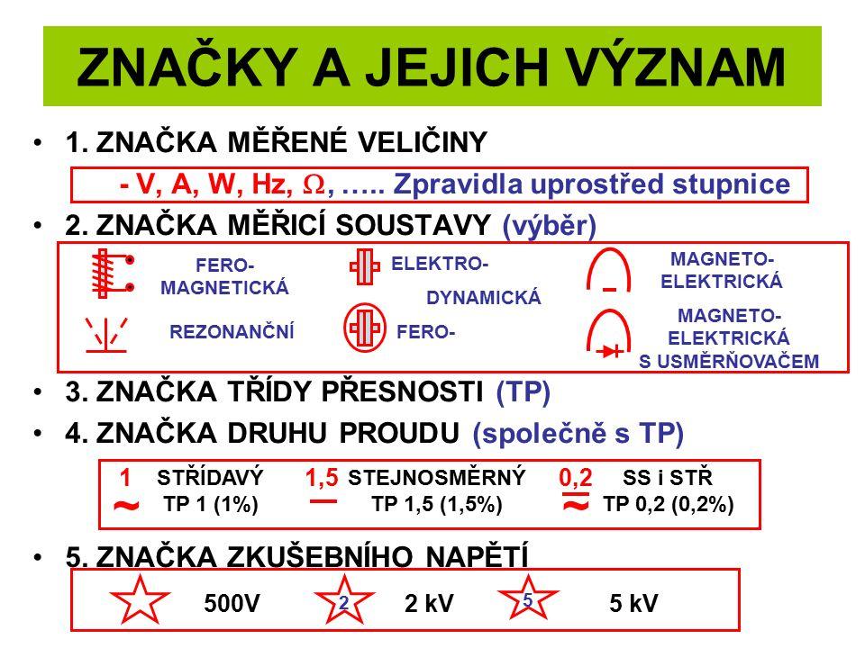 ZNAČKY A JEJICH VÝZNAM 1. ZNAČKA MĚŘENÉ VELIČINY - V, A, W, Hz, , ….. Zpravidla uprostřed stupnice 2. ZNAČKA MĚŘICÍ SOUSTAVY (výběr) 3. ZNAČKA TŘÍDY