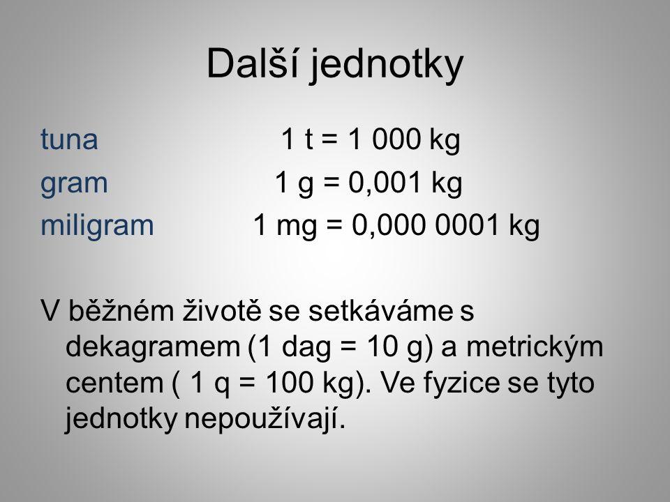 Další jednotky tuna 1 t = 1 000 kg gram 1 g = 0,001 kg miligram 1 mg = 0,000 0001 kg V běžném životě se setkáváme s dekagramem (1 dag = 10 g) a metric