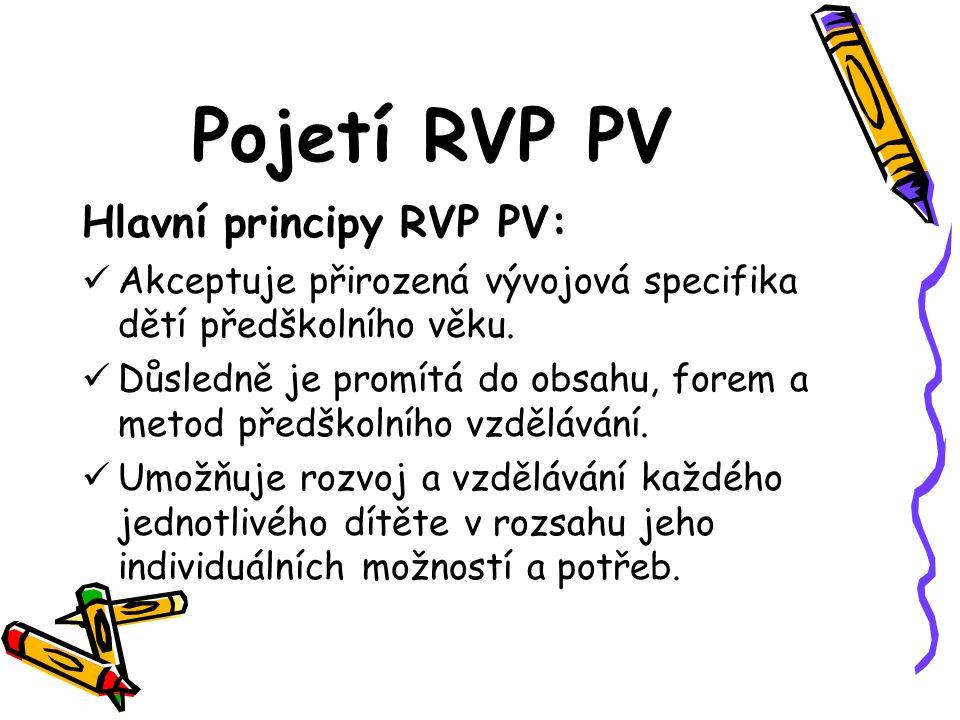 Pojetí RVP PV Hlavní principy RVP PV: Akceptuje přirozená vývojová specifika dětí předškolního věku. Důsledně je promítá do obsahu, forem a metod před