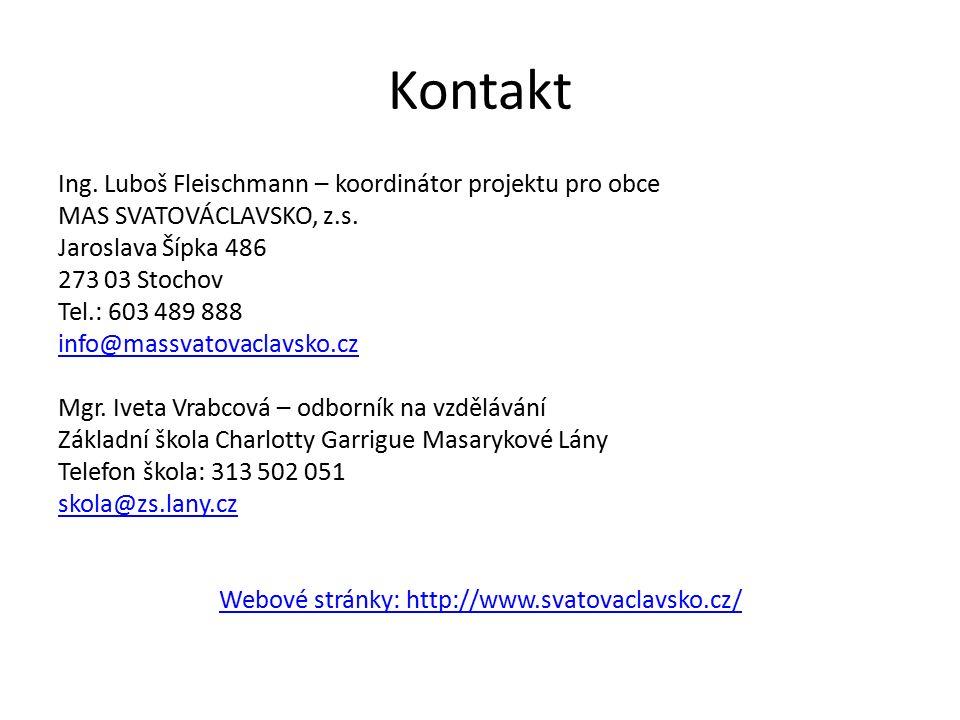 Kontakt Ing. Luboš Fleischmann – koordinátor projektu pro obce MAS SVATOVÁCLAVSKO, z.s.