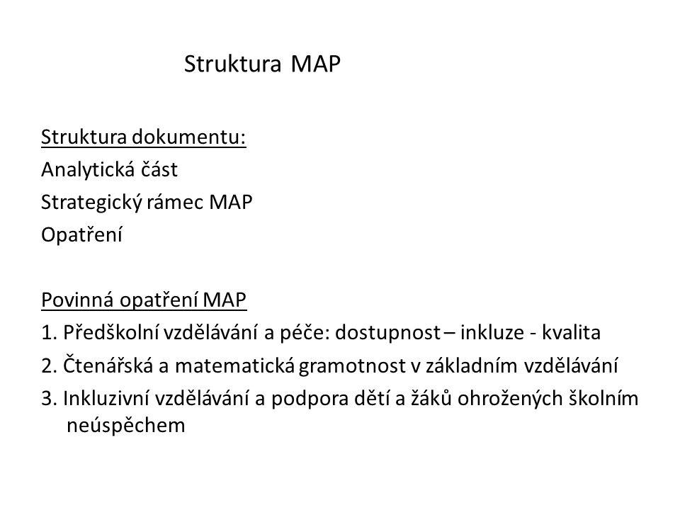 Struktura MAP Struktura dokumentu: Analytická část Strategický rámec MAP Opatření Povinná opatření MAP 1. Předškolní vzdělávání a péče: dostupnost – i
