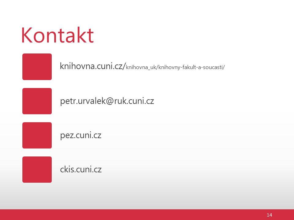 Kontakt knihovna.cuni.cz/ knihovna_uk/knihovny-fakult-a-soucasti/ petr.urvalek@ruk.cuni.cz 14 pez.cuni.cz ckis.cuni.cz