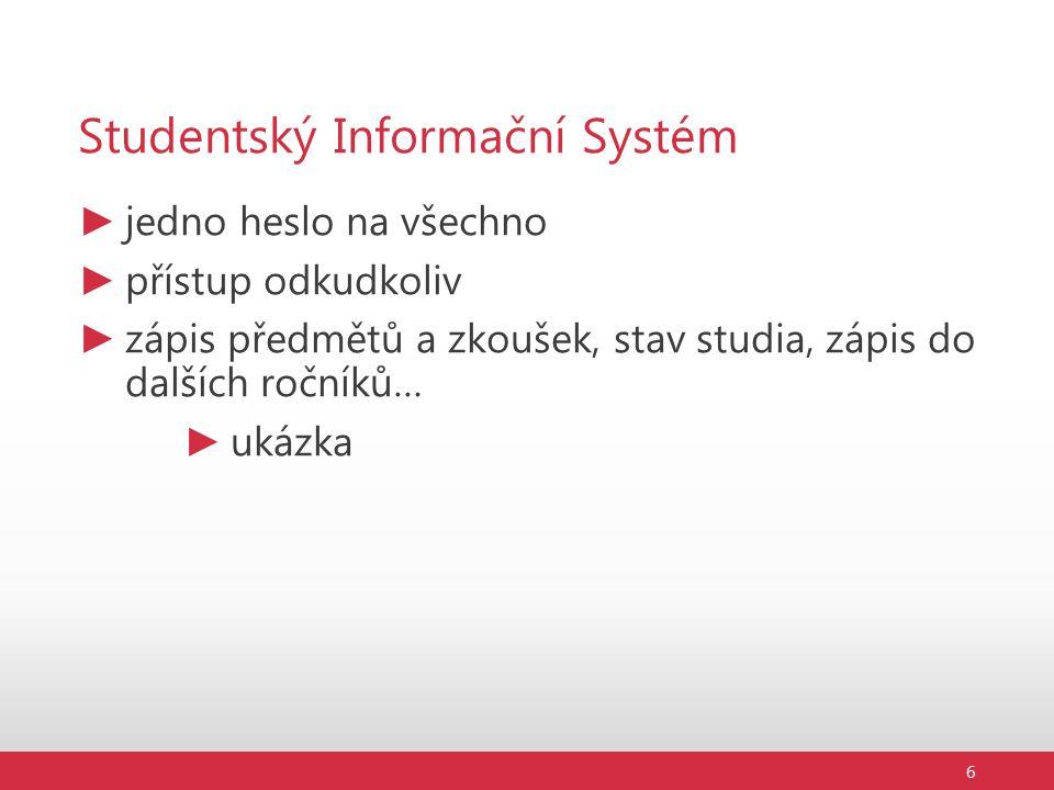 Studentský Informační Systém ► jedno heslo na všechno ► přístup odkudkoliv ► zápis předmětů a zkoušek, stav studia, zápis do dalších ročníků… ► ukázka 6
