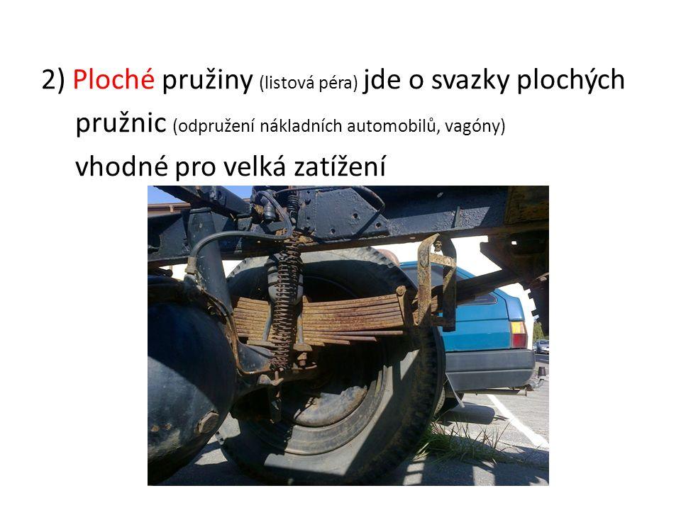 2) Ploché pružiny (listová péra) jde o svazky plochých pružnic (odpružení nákladních automobilů, vagóny) vhodné pro velká zatížení