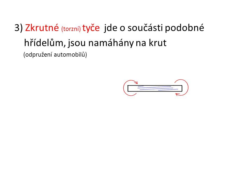 3) Zkrutné (torzní) tyče jde o součásti podobné hřídelům, jsou namáhány na krut (odpružení automobilů)