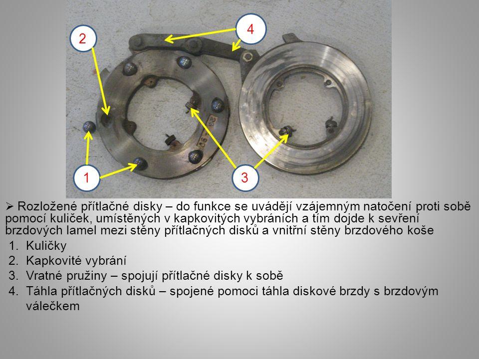  Rozložené přítlačné disky – do funkce se uvádějí vzájemným natočení proti sobě pomocí kuliček, umístěných v kapkovitých vybráních a tím dojde k sevření brzdových lamel mezi stěny přítlačných disků a vnitřní stěny brzdového koše 1.