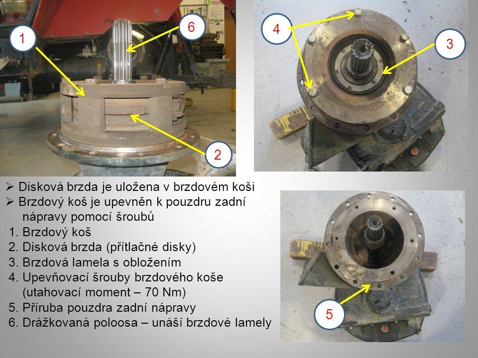  Disková brzda je uložena v brzdovém koši  Brzdový koš je upevněn k pouzdru zadní nápravy pomocí šroubů 1.