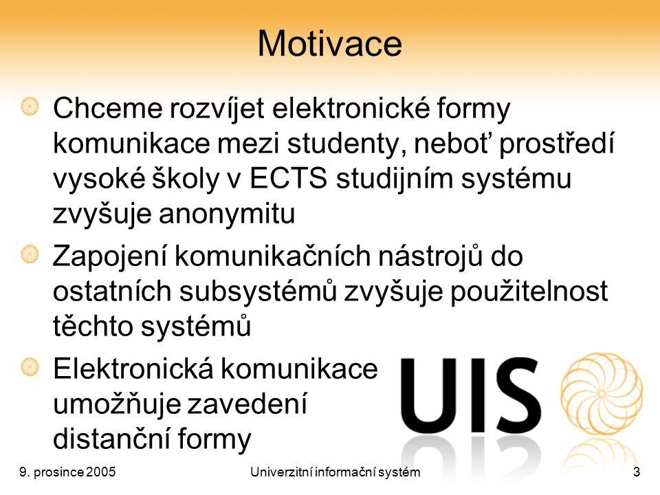 9. prosince 2005Univerzitní informační systém3 Motivace Chceme rozvíjet elektronické formy komunikace mezi studenty, neboť prostředí vysoké školy v EC