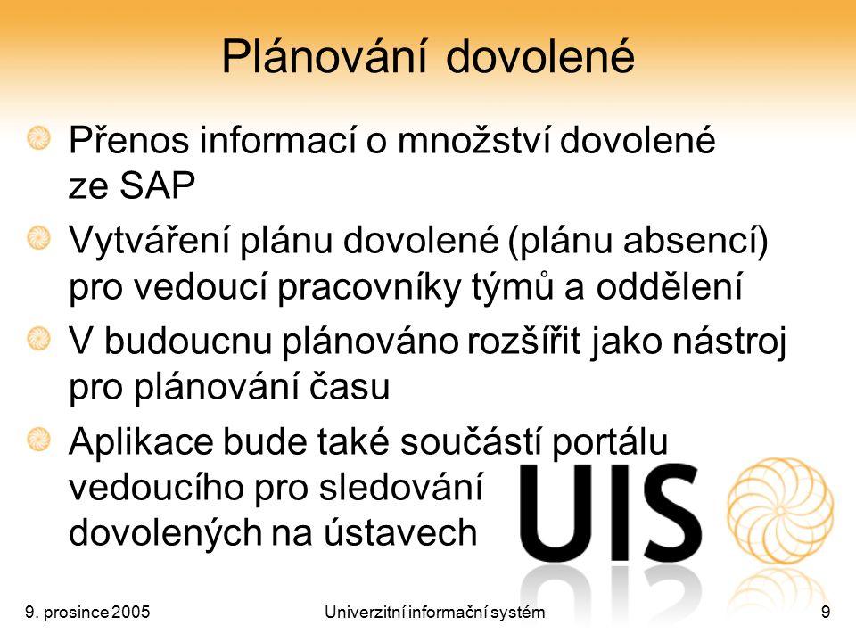 9. prosince 2005Univerzitní informační systém9 Plánování dovolené Přenos informací o množství dovolené ze SAP Vytváření plánu dovolené (plánu absencí)