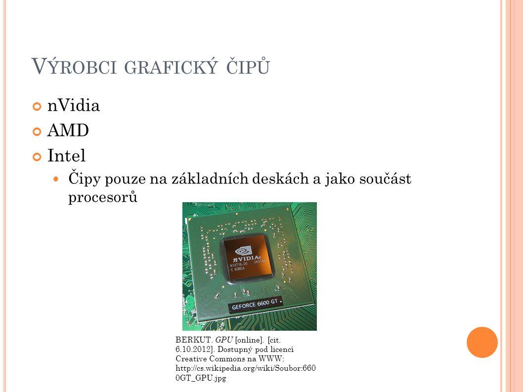 V ÝROBCI GRAFICKÝ ČIPŮ nVidia AMD Intel Čipy pouze na základních deskách a jako součást procesorů BERKUT.