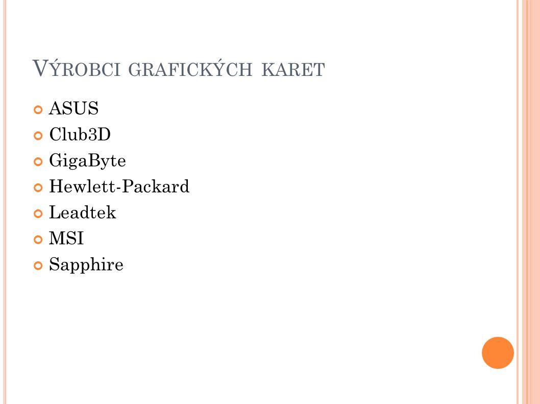 V ÝROBCI GRAFICKÝCH KARET ASUS Club3D GigaByte Hewlett-Packard Leadtek MSI Sapphire