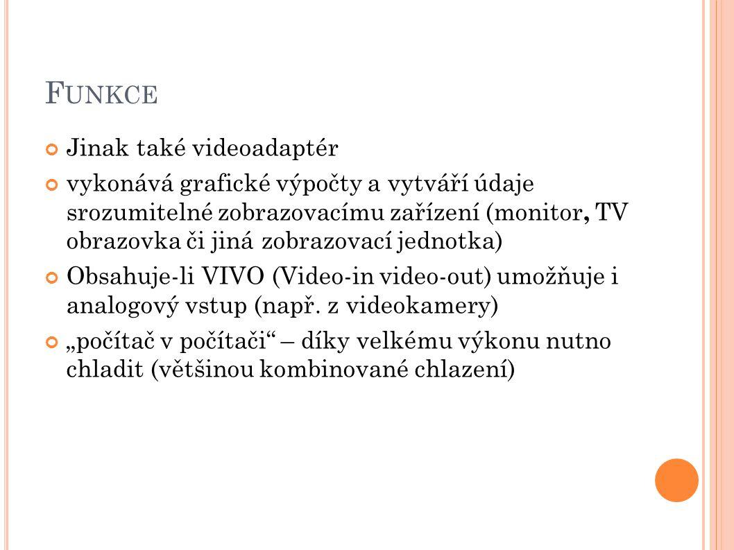 F UNKCE Jinak také videoadaptér vykonává grafické výpočty a vytváří údaje srozumitelné zobrazovacímu zařízení (monitor, TV obrazovka či jiná zobrazovací jednotka) Obsahuje-li VIVO (Video-in video-out) umožňuje i analogový vstup (např.