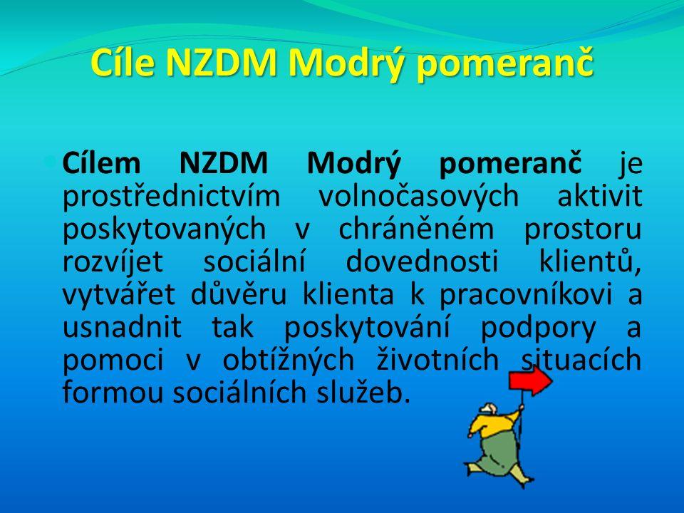 Cíle NZDM Modrý pomeranč Cílem NZDM Modrý pomeranč je prostřednictvím volnočasových aktivit poskytovaných v chráněném prostoru rozvíjet sociální dovednosti klientů, vytvářet důvěru klienta k pracovníkovi a usnadnit tak poskytování podpory a pomoci v obtížných životních situacích formou sociálních služeb.