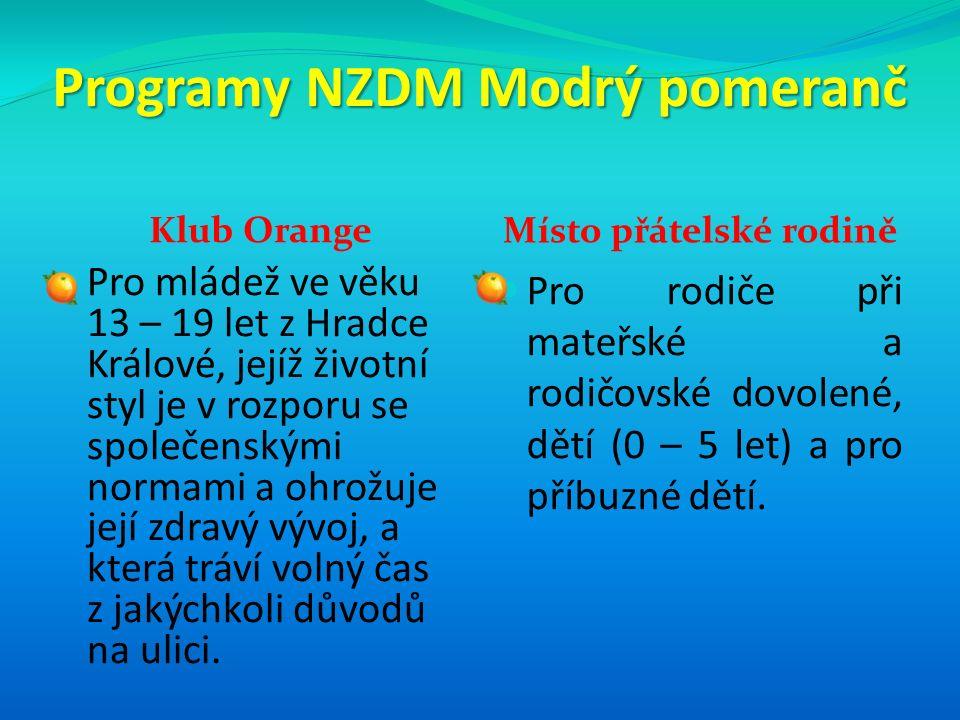 Programy NZDM Modrý pomeranč Klub Orange Místo přátelské rodině Pro mládež ve věku 13 – 19 let z Hradce Králové, jejíž životní styl je v rozporu se sp