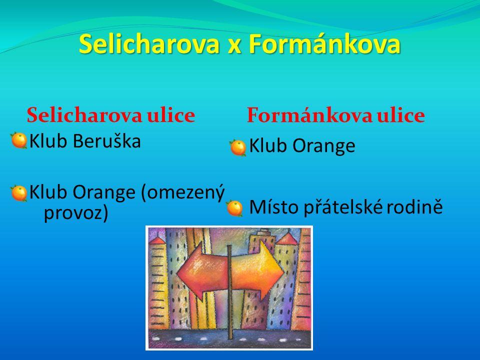 Selicharova x Formánkova Selicharova ulice Formánkova ulice Klub Beruška Klub Orange (omezený provoz) Klub Orange Místo přátelské rodině