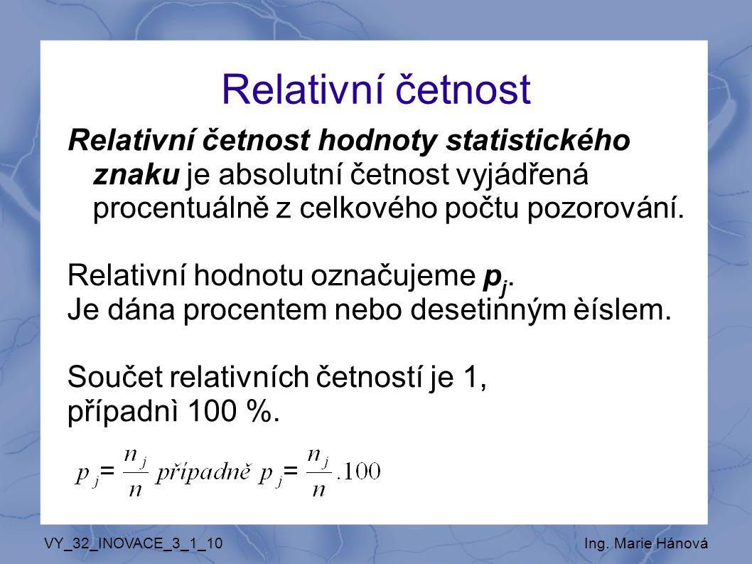 Relativní četnost Relativní četnost hodnoty statistického znaku je absolutní četnost vyjádřená procentuálně z celkového počtu pozorování.