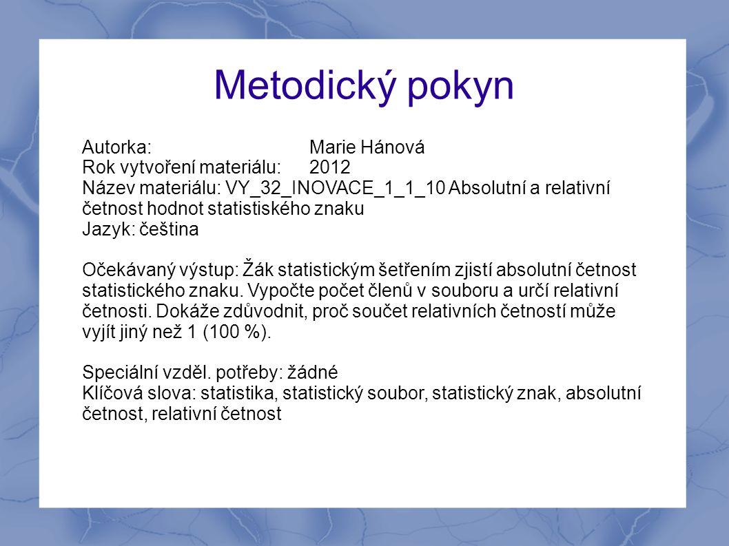 Metodický pokyn Autorka: Marie Hánová Rok vytvoření materiálu: 2012 Název materiálu: VY_32_INOVACE_1_1_10 Absolutní a relativní četnost hodnot statist