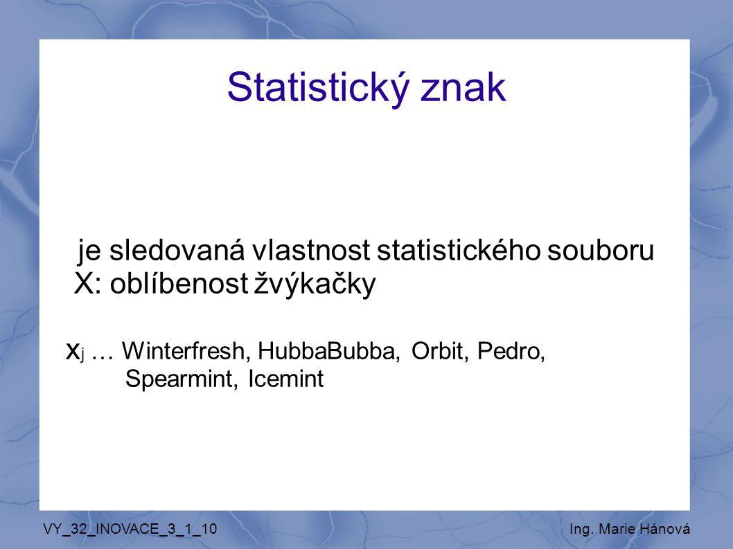 Statistický znak je sledovaná vlastnost statistického souboru X: oblíbenost žvýkačky x j … Winterfresh, HubbaBubba, Orbit, Pedro, Spearmint, Icemint V