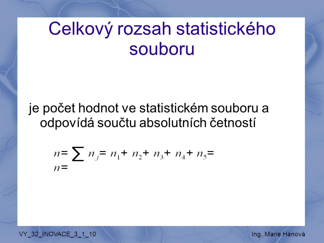 Celkový rozsah statistického souboru je počet hodnot ve statistickém souboru a odpovídá součtu absolutních četností VY_32_INOVACE_3_1_10Ing. Marie Hán