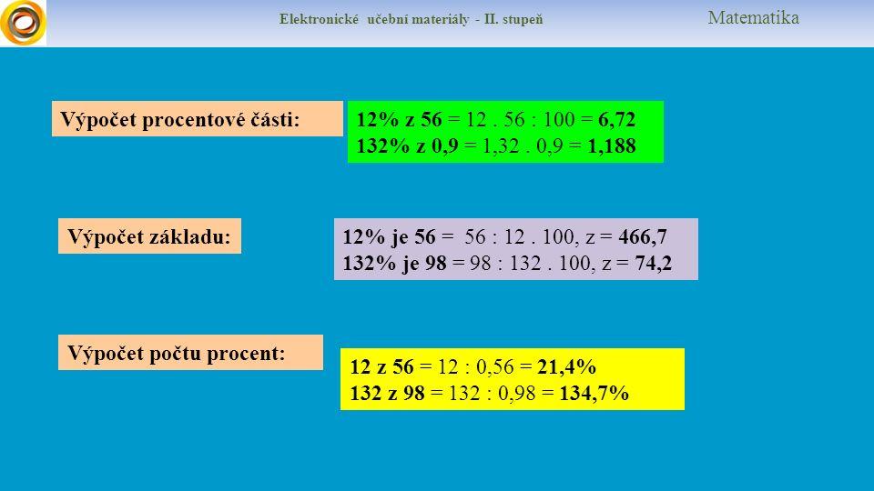 Elektronické učební materiály - II. stupeň Matematika Výpočet procentové části:12% z 56 = 12.