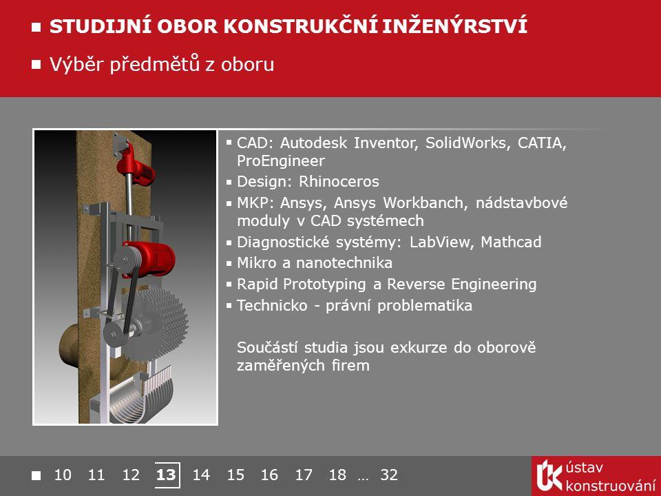 10 11 12 13 14 15 16 17 18 … 32 Výběr předmětů z oboru STUDIJNÍ OBOR KONSTRUKČNÍ INŽENÝRSTVÍ CAD: Autodesk Inventor, SolidWorks, CATIA, ProEngineer Design: Rhinoceros MKP: Ansys, Ansys Workbanch, nádstavbové moduly v CAD systémech Diagnostické systémy: LabView, Mathcad Mikro a nanotechnika Rapid Prototyping a Reverse Engineering Technicko - právní problematika Součástí studia jsou exkurze do oborově zaměřených firem