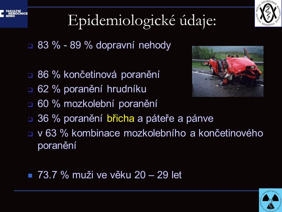 Epidemiologické údaje:  83 % - 89 % dopravní nehody  86 % končetinová poranění  62 % poranění hrudníku  60 % mozkolební poranění  36 % poranění b