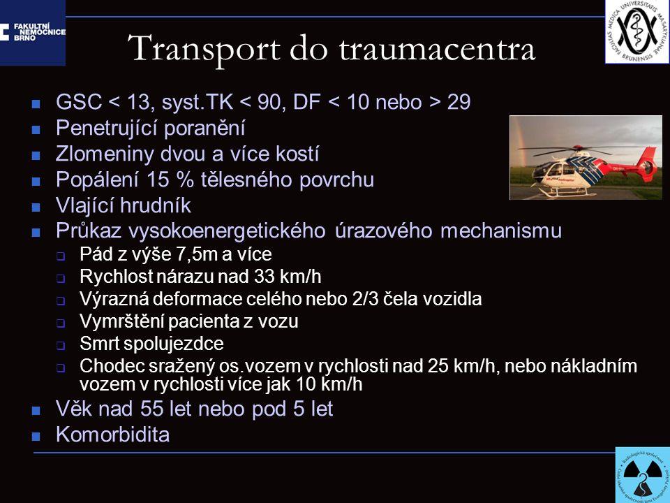 Transport do traumacentra GSC 29 Penetrující poranění Zlomeniny dvou a více kostí Popálení 15 % tělesného povrchu Vlající hrudník Průkaz vysokoenerget