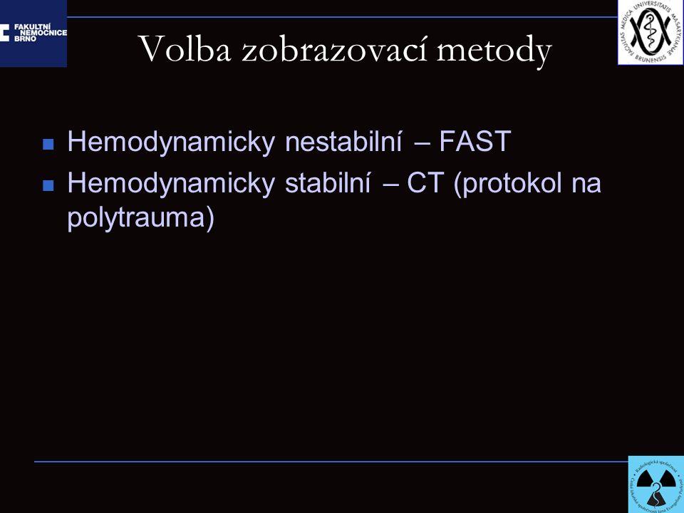 Volba zobrazovací metody Hemodynamicky nestabilní – FAST Hemodynamicky stabilní – CT (protokol na polytrauma)
