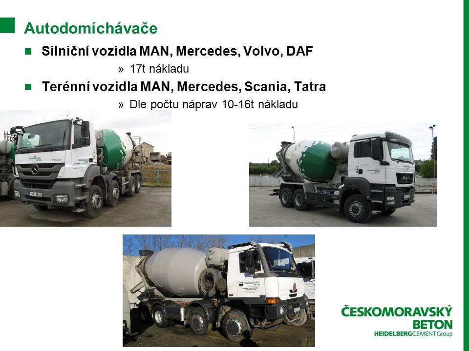 Autodomíchávače Silniční vozidla MAN, Mercedes, Volvo, DAF »17t nákladu Terénní vozidla MAN, Mercedes, Scania, Tatra »Dle počtu náprav 10-16t nákladu