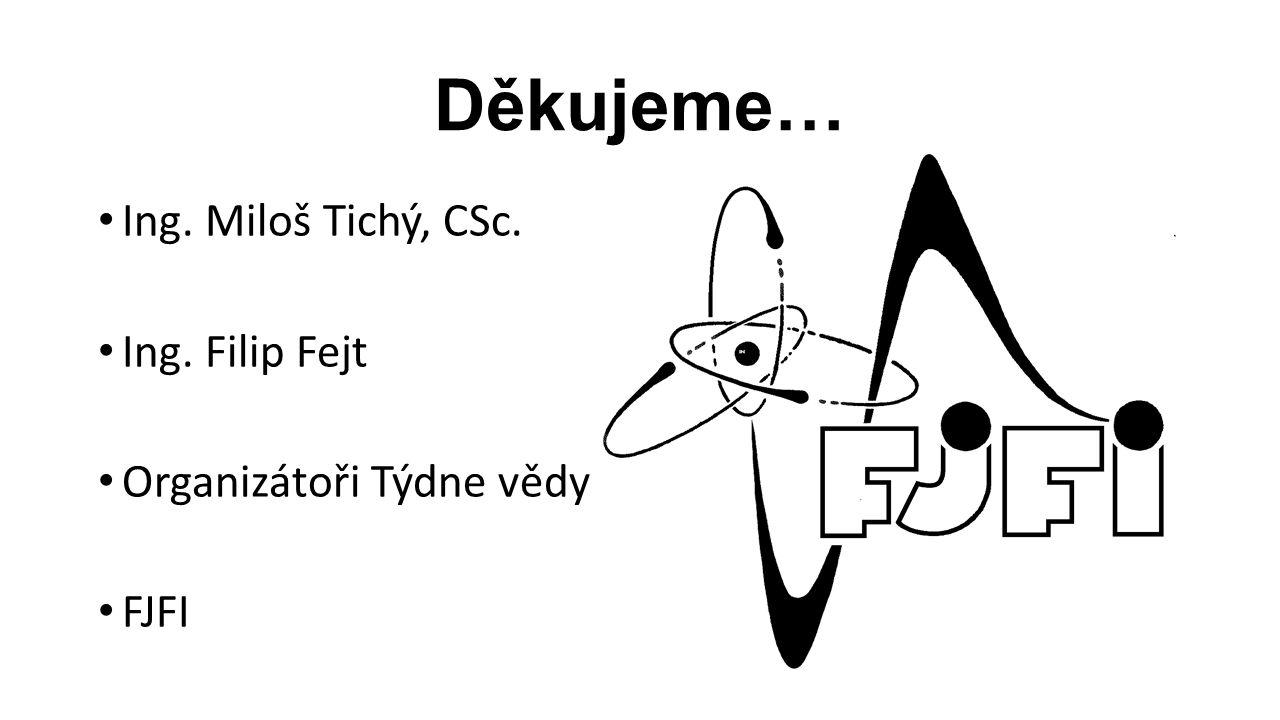 Děkujeme… Ing. Miloš Tichý, CSc. Ing. Filip Fejt Organizátoři Týdne vědy FJFI
