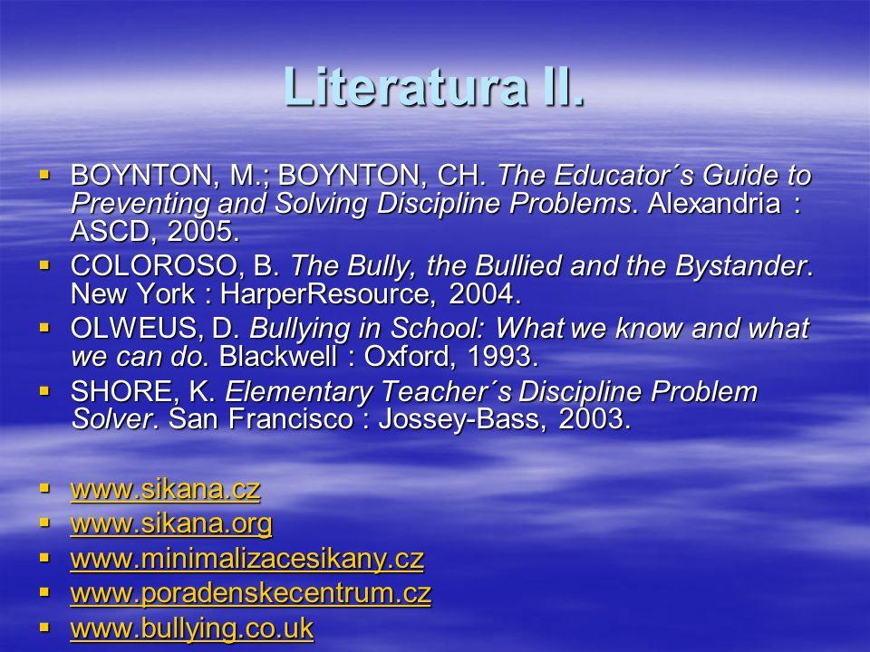 Literatura II.  BOYNTON, M.; BOYNTON, CH.