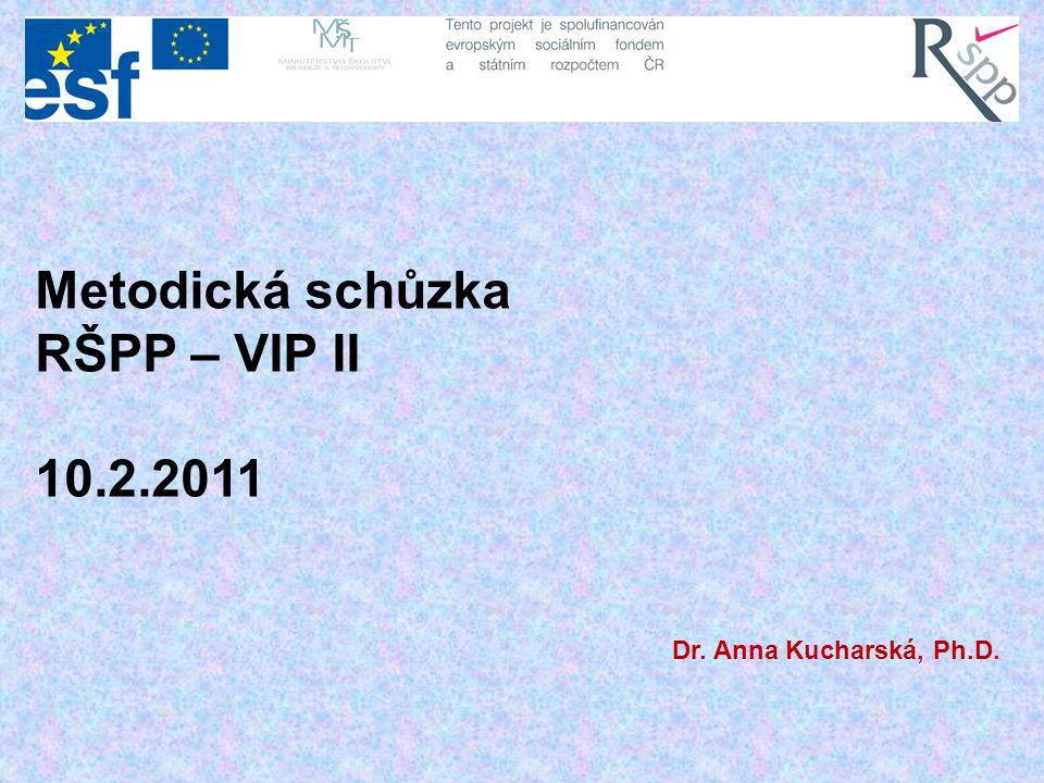 Metodická schůzka RŠPP – VIP II 10.2.2011 Dr. Anna Kucharská, Ph.D.