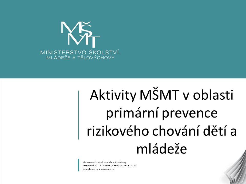 12 Role MŠMT v oblasti primární prevence Zabezpečení systému hodnocení kvality programů (Certifikace programů primární prevence – NÚV) Finanční podpora vytváření materiálních, personálních a dalších podmínek nezbytných pro vlastní realizaci prevence ve školství Dotační program na podporu aktivit v oblasti primární prevence – ročně MŠMT uvolňuje cca 20 milionů Kč na podporu programů primární prevence