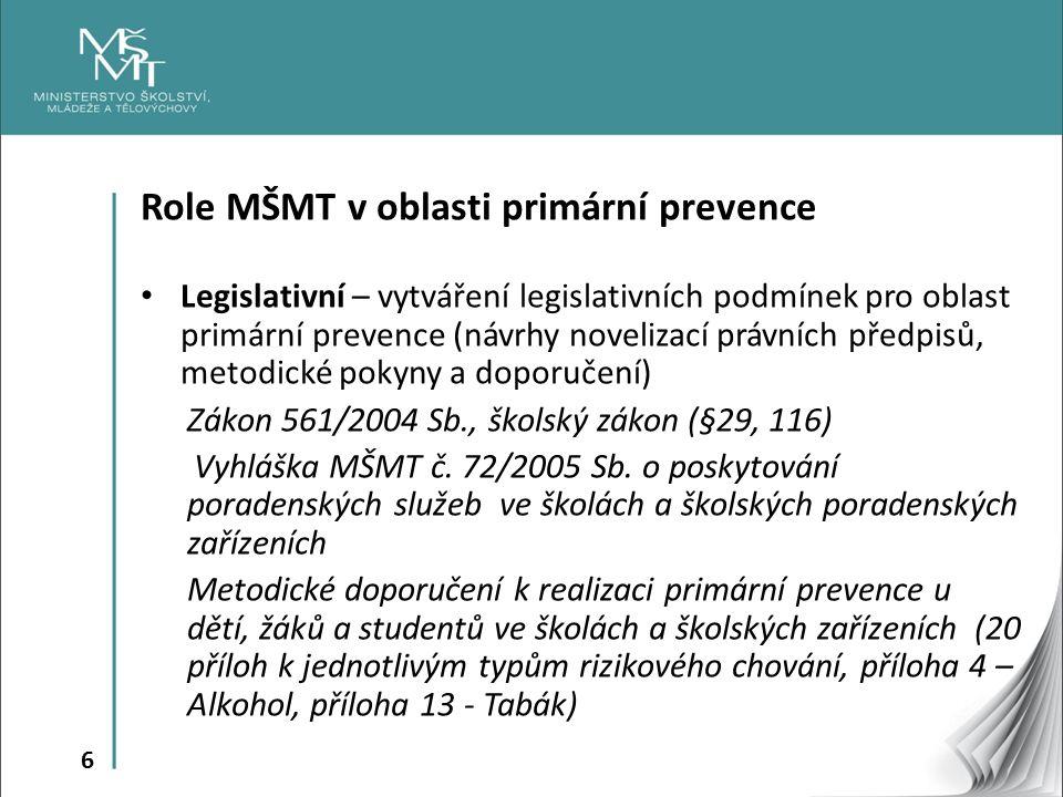 7 Role MŠMT v oblasti primární prevence Koordinační – spolupráce všech subjektů na horizontální (meziresortní) a vertikální úrovni, podpora vytváření vazeb a struktury subjektů realizujících či spolupodílejících se na vytyčených prioritách