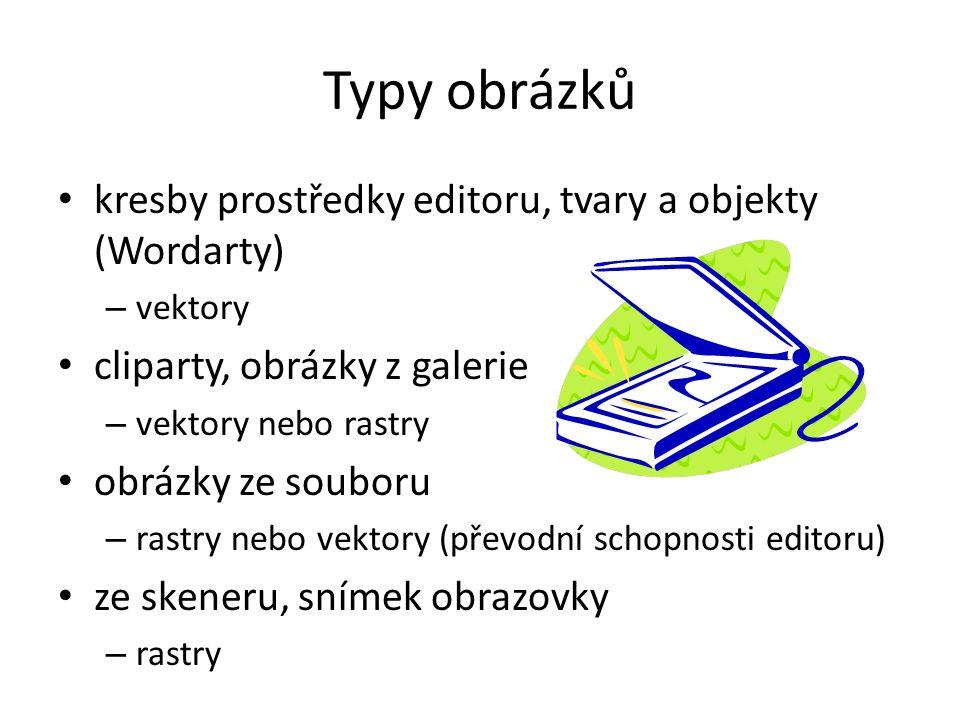Typy obrázků kresby prostředky editoru, tvary a objekty (Wordarty) – vektory cliparty, obrázky z galerie – vektory nebo rastry obrázky ze souboru – rastry nebo vektory (převodní schopnosti editoru) ze skeneru, snímek obrazovky – rastry
