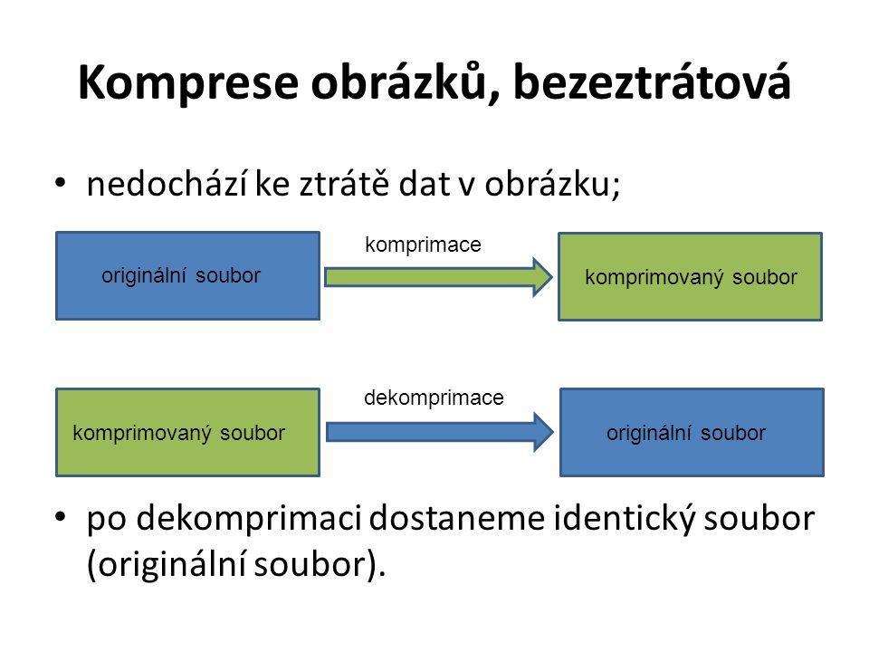Komprese obrázků, bezeztrátová nedochází ke ztrátě dat v obrázku; po dekomprimaci dostaneme identický soubor (originální soubor).