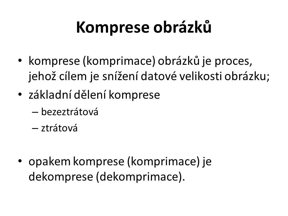 Komprese obrázků komprese (komprimace) obrázků je proces, jehož cílem je snížení datové velikosti obrázku; základní dělení komprese – bezeztrátová – ztrátová opakem komprese (komprimace) je dekomprese (dekomprimace).