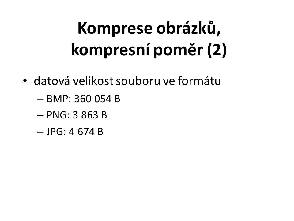 datová velikost souboru ve formátu – BMP: 360 054 B – PNG: 3 863 B – JPG: 4 674 B