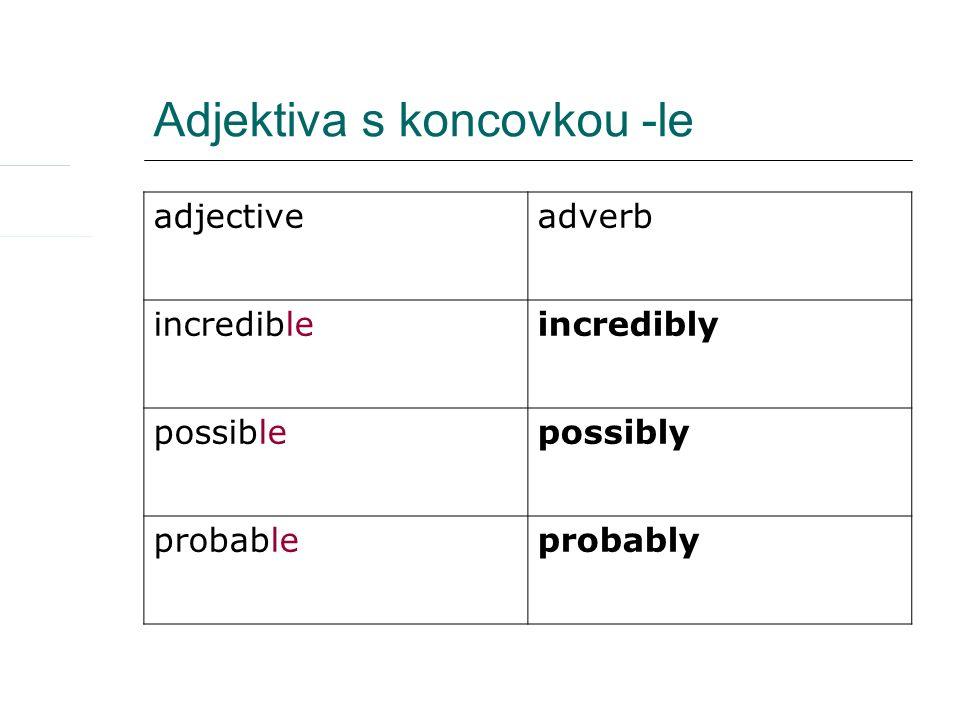 Adjektiva s koncovkou -y adjectiveadverb funnyfunnily happyhappily heavyheavily