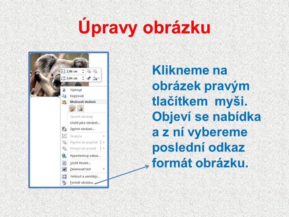 Úpravy z formátu obrázku Na dalších stránkách si ukážeme jednotlivé úpravy obrázku.